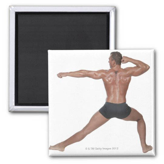Body Builder in Lunge Pose Magnet