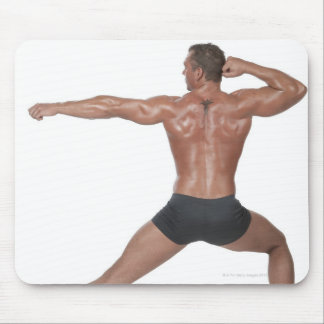 Body Builder in Lunge Pose Mousepad