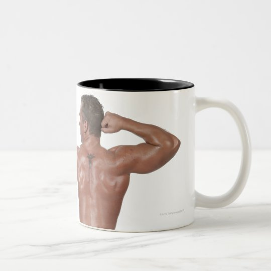 Body Builder in Lunge Pose Two-Tone Coffee Mug