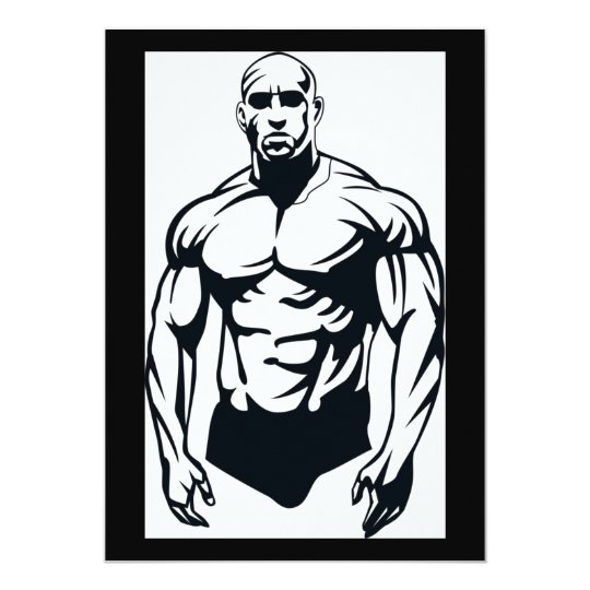 body-builder_vector_image man muscular sports card