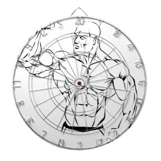 body-building dartboard with darts