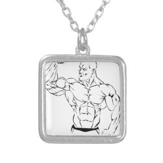 body-building silver plated necklace
