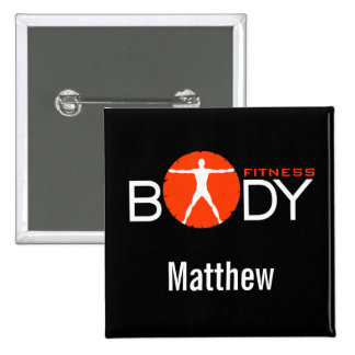 Body Fitness Personal Trainer Square Name Buttons Pins