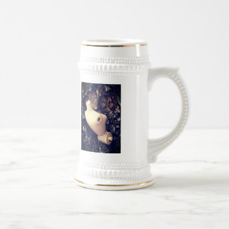 body in the woods beer stein