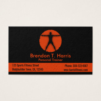 Body Madness Black and Orange Personal Trainer Business Card
