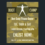 """Body Madness Dark Green Camo Boot Camp Flyers<br><div class=""""desc"""">&#169; Sunny Mars Designs - Body Madness White Vitruvian Muscle Man Silhouette Dark Khaki Green Camo Boot Camp Flyers Template - Custom sports Boot Camp Fitness flyers with a white silhouette of a male in the Vitruvian position, a khaki jagged circle, dark green band and military camouflage background. Perfect promotional...</div>"""