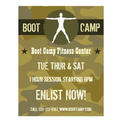 Body Madness Boot Camp Fitness Blue Camo Flyers Zazzle