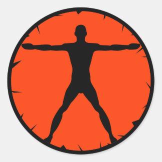 Body Madness Fitness Black Vitruvian Round Sticker