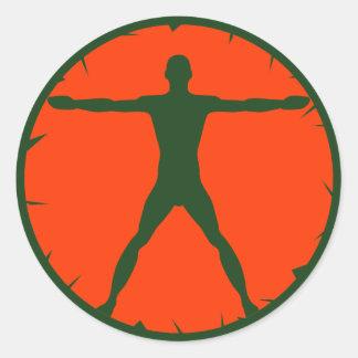 Body Madness Fitness Green Vitruvian Round Sticker
