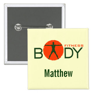 Body Madness Fitness Personal Trainer Square Badge 2 Inch Square Button