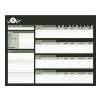 Body Madness Fitness Personal Workout Log Sheets