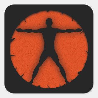 Body Madness Fitness Vitruvian Man Square Sticker