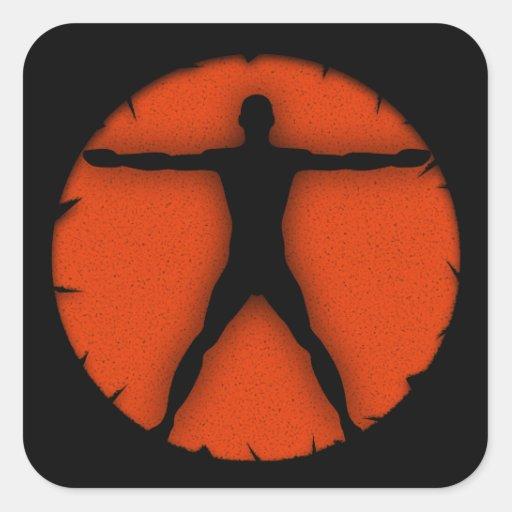 Body Madness Fitness Vitruvian Man Square Sticker Stickers