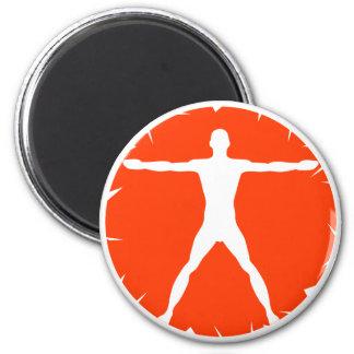 Body Madness Fitness White Orange Round Magnet