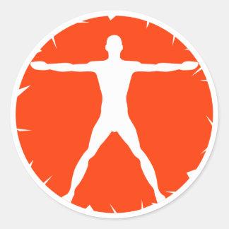 Body Madness Fitness White Vitruvian Round Sticker