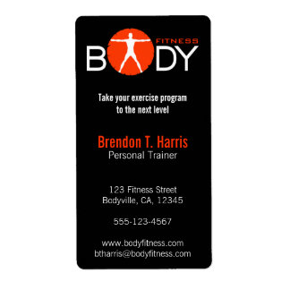 Body Madness Personal Trainer Return Adress Label Personalized Shipping Label