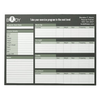 Body Madness Personal Trainer Workout Log Notepad Scratch Pad