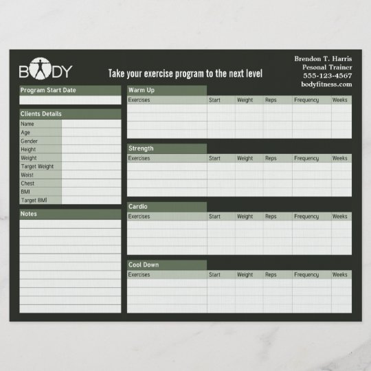 body madness personal trainer workout log sheets zazzle com