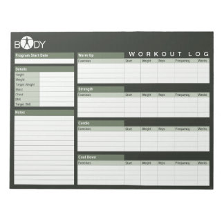 Body Madness Personal Workout Log Planner Notepad Memo Notepads