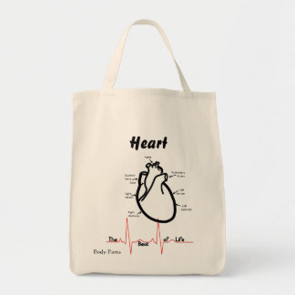 Body Parts -- Human Heart Grocery Tote Bag