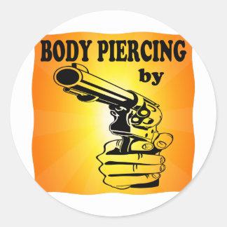 Body Piercing By ..... GUN Classic Round Sticker
