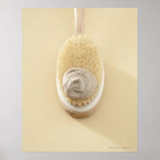 Body scrub brush with bath scrub poster