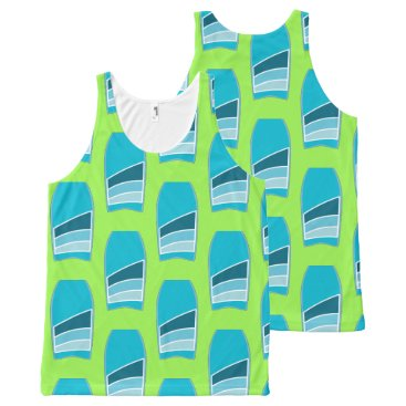Beach Themed Bodyboard Beach Pattern Custom Color Lime Green All-Over-Print Tank Top