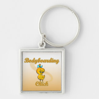 Bodyboarding Chick Silver-Colored Square Keychain