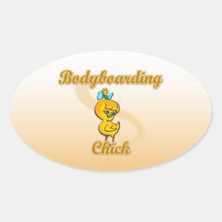 Bodyboarding Chick Oval Sticker