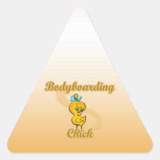 Bodyboarding Chick Triangle Sticker