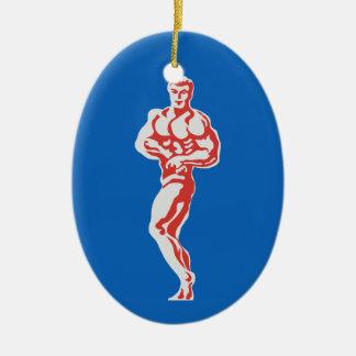 Bodybuilder Adorno Navideño Ovalado De Cerámica