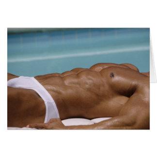 Bodybuilder At Pool Notecard Greeting Cards