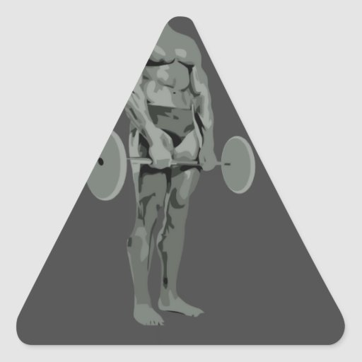 bodybuilder del astronauta pegatina triangular