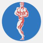 Bodybuilder Etiqueta Redonda