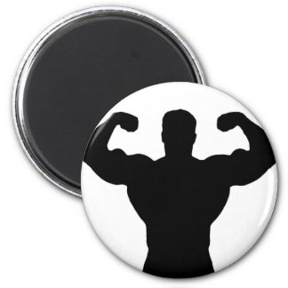 bodybuilder flexing muscles 2 inch round magnet
