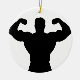 bodybuilder flexing muscles ceramic ornament