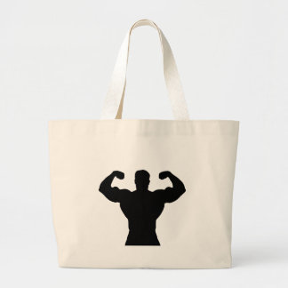 bodybuilder flexing muscles large tote bag