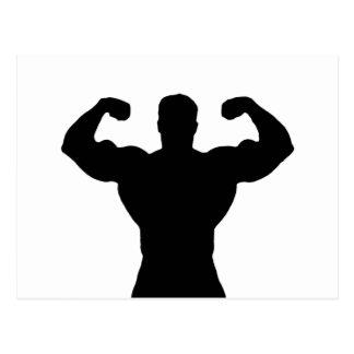 bodybuilder flexing muscles postcard