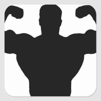 bodybuilder flexing muscles square sticker