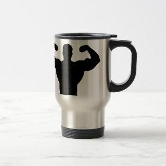 bodybuilder flexing muscles travel mug
