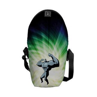 Bodybuilder green messenger bag