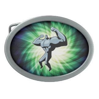 Bodybuilder; green oval belt buckle