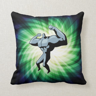 Bodybuilder; green throw pillow