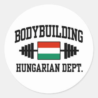 Bodybuilder húngaro pegatina redonda