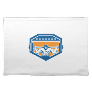 Bodybuilder Lifting Barbell Shield Retro Placemats