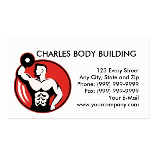 bodybuilder lifting  dumbbell weights business card template