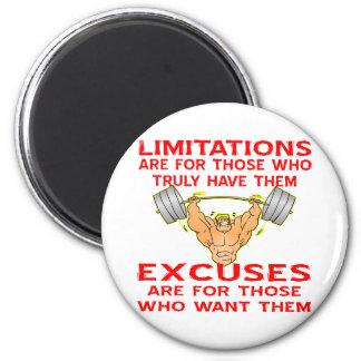 Bodybuilder Limitations vs. Excuses 2 Inch Round Magnet