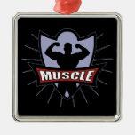 Bodybuilder Muscle Logo Christmas Tree Ornaments