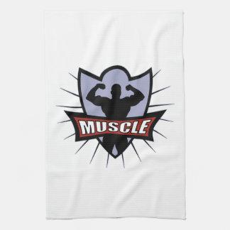 Bodybuilder Muscle Logo Kitchen Towels