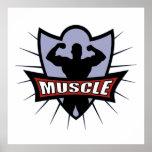 Bodybuilder Muscle Logo Poster